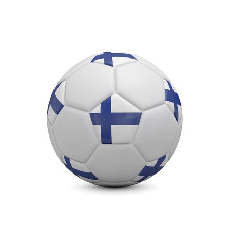 Fotbalový fotbal s vlajkou Finska. 3D rendrování