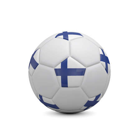Soccer football with Finland flag. 3D Rendering