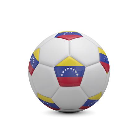 Soccer football with Venezuela flag. 3D Rendering