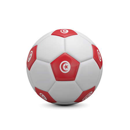 Soccer football with Tunisia flag. 3D Rendering Stock Photo