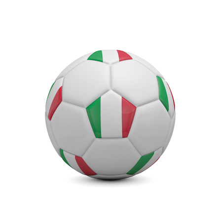 Soccer football with Italy flag. 3D Rendering