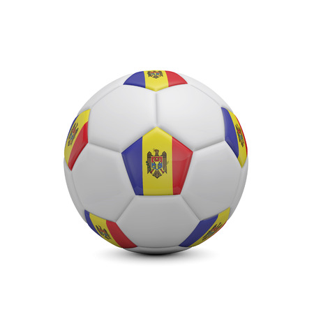 Soccer football with Moldova flag. 3D Rendering