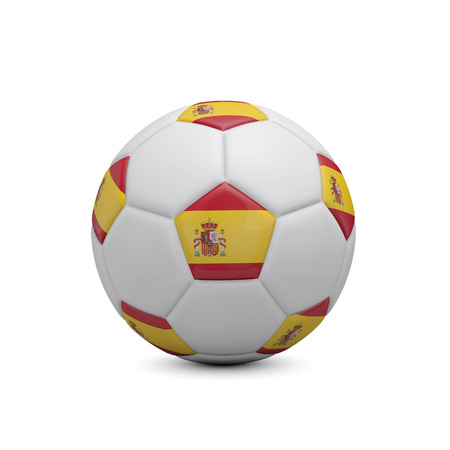 Soccer football with Spain flag. 3D Rendering Stock Photo