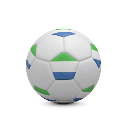 Soccer football with Sierra Leone flag. 3D Rendering