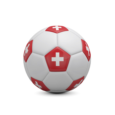 Soccer football with Switzerland flag. 3D Rendering Stock Photo