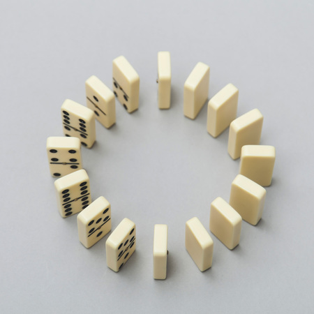 Domino background. Business strategy concept Stock Photo
