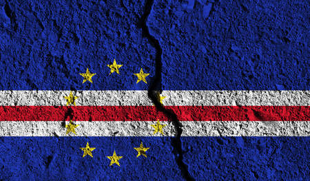 Cape Verde flag with crack through the middle. Country divided concept Stock Photo
