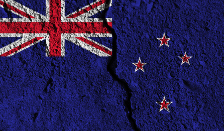 New Zealand flag with crack through the middle. Country divided concept Stock Photo