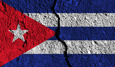 Cuba flag with crack through the middle. Country divided concept