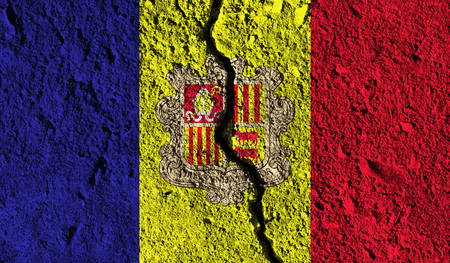Andorra flag with crack through the middle. Country divided concept Stock Photo