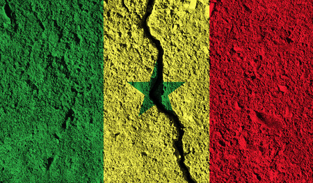 Senegal flag with crack through the middle. Country divided concept