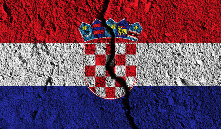 Croatia flag with crack through the middle. Country divided concept