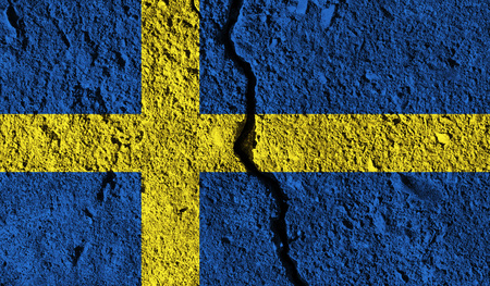 Sweden flag with crack through the middle. Country divided concept