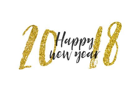 Gold glitter 2018 happy new year background Stock Photo