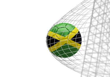 Jamaica flag soccer ball scores a goal in a net