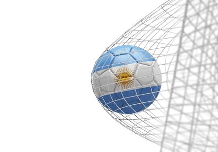 Argentina flag soccer ball scores a goal in a net