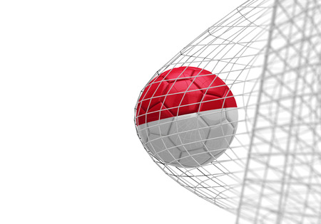 Indonesia flag soccer ball scores a goal in a net