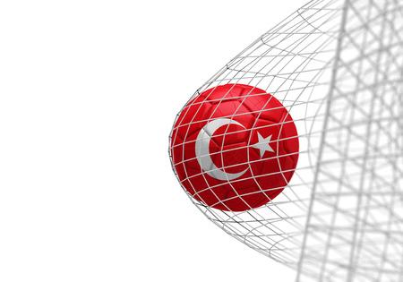 Turkey flag soccer ball scores a goal in a net