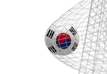 South Korea flag soccer ball scores a goal in a net Stock Photo