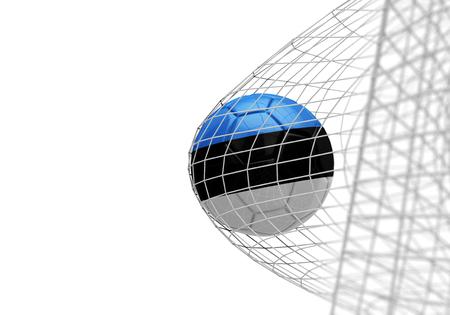 Estonia flag soccer ball scores a goal in a net Stock Photo