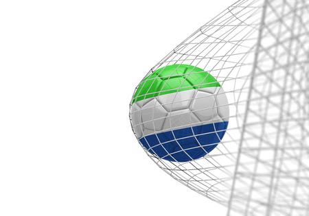 Sierra Leone flag soccer ball scores a goal in a net