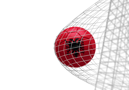 Albania flag soccer ball scores a goal in a net