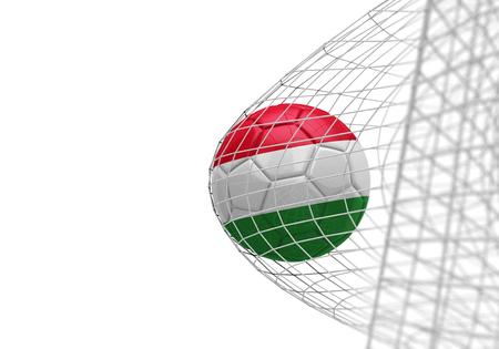 Hungary flag soccer ball scores a goal in a net