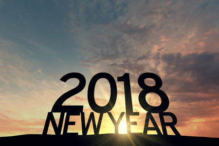 2018 new year silhouete against sunset sky. 3D Rendering Stock Photo