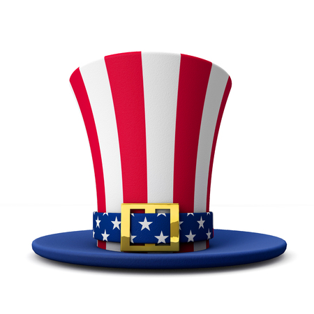 United States Uncle Sam stars and stripes hat. 3D Rendering Stock Photo