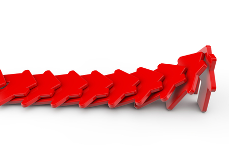 Een rij rode huizen die als dominos vallen. Huisvestingsprobleem concept. 3D-weergave Stockfoto