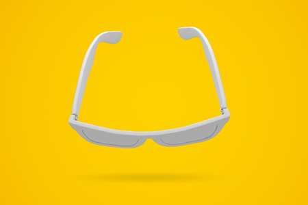 White sunglasses on a bright yellow background. Summertime background. 3D rendering
