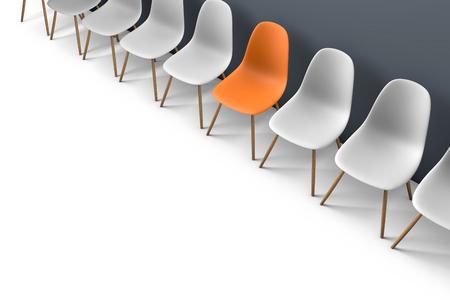 Rangée de chaises avec une sortie impaire. Opportunité professionnelle. Leadership d'entreprise concept de recrutement. Rendu 3D Banque d'images