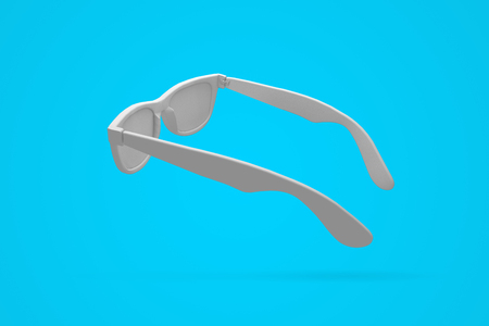 White sunglasses on a bright blue background. Summertime background. 3D rendering