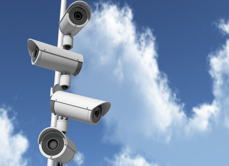 A set of security cameras watching different dirtections. 3D Rendering Stock Photo