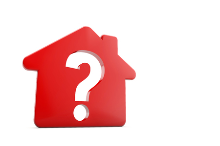 A red house with a question mark symbol. Housing problem concept. 3D Rendering Stock Photo