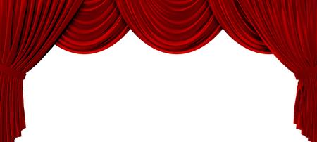 De rode gordijnen van het stoffentheater op een duidelijke witte achtergrond. 3D-weergave Stockfoto