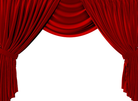 Red fabric theatre curtains on a plain white background. 3D Rendering Stock Photo