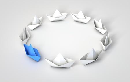 Origami boten leiderschap concept. 3D-weergave Stockfoto