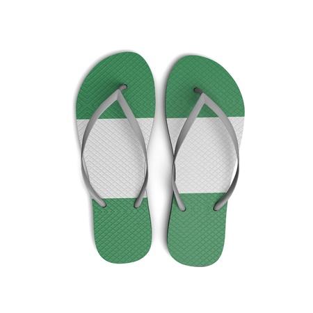 Nigeria flag flip flop sandals on a white background. 3D Rendering