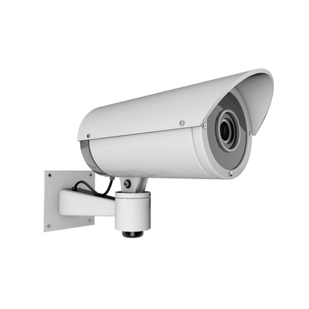 Surveillance CCTV security camera. 3D rendering Stock Photo
