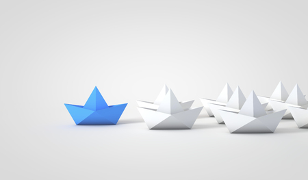 Origami boats leadship concept. 3D Rendering
