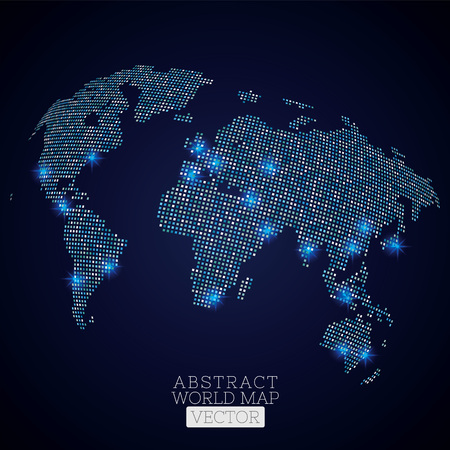 Pixel dot world map with glowing locations. Global technology concept