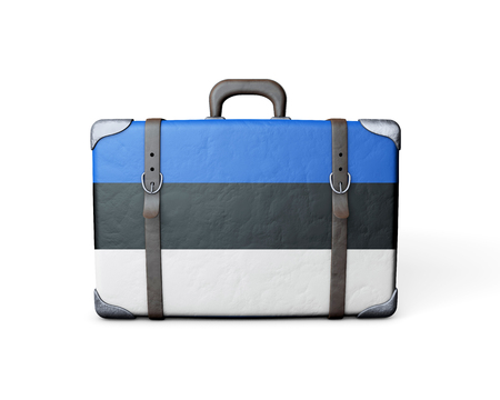 Estonia flag on a vintage leather suitcase. 3D Rendering