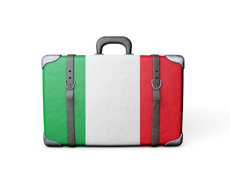 Italy flag on a vintage leather suitcase. 3D Rendering 版權商用圖片