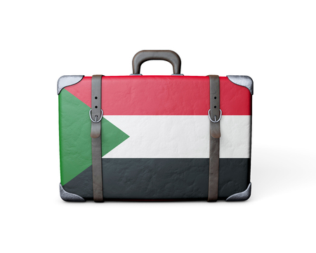 Sudan flag on a vintage leather suitcase. 3D Rendering 스톡 콘텐츠