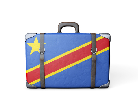 Democratic Republic of Congo flag on a vintage leather suitcase. 3D Rendering
