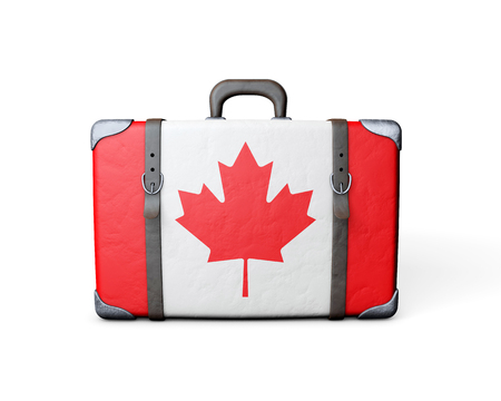 Canada flag on a vintage leather suitcase. 3D Rendering