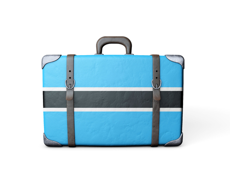 Botswana flag on a vintage leather suitcase. 3D Rendering