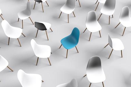 Chaise bleue. Direction d'entreprise. concept de recrutement. Rendu 3D Banque d'images