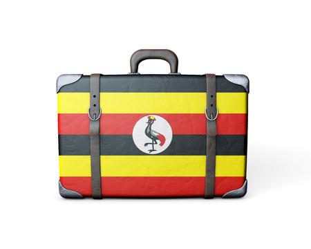 Uganda flag on a vintage leather suitcase. 3D Rendering